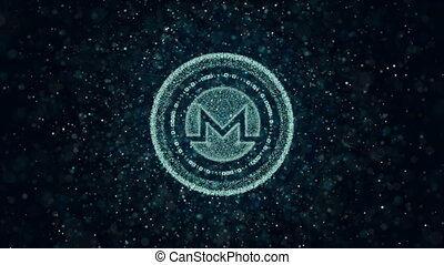 Crypto currency Monero of luminous particles. Background 3d...