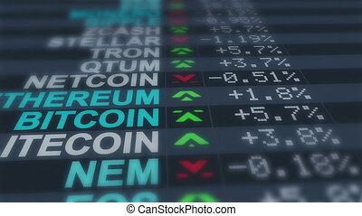 """""""Crypto Currency Monitor with Shifting Prices"""" - """"A vertical..."""
