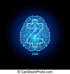 Crypto currency zcash nero on brain background - Crypto...