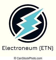 crypto, ilustración, vector, coi, electroneum, (etn).