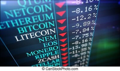 """""""A computer 3d rendering of crypto information placed on a huge black screen with the titles of different crypto currencies, their price and shimmering red arrows. Slump crypro market."""""""