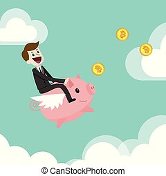 Crypto- market. Finance and relationships concept. Businessman is riding on a pig bank and catching Bitcoins.