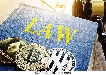 crypto, regulation., cryptocurrency, pièces, et, livre, law.