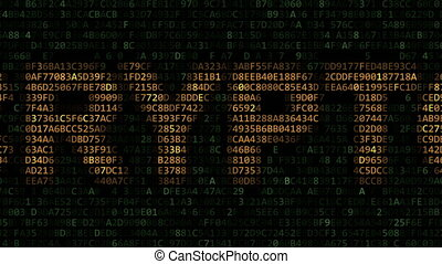 CRYPTO word made of flashing hexadecimal symbols on computer...