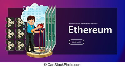 Cryptocoin mining Ethereum poster with elements of...