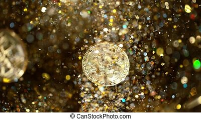 Cryptocurrencies Bitcoins flying with gold shiny glitters. 1000 fps, super slow motion.