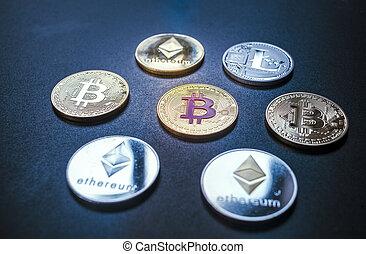 cryptocurrencies concept - bitcoin, litecoin, ethereum