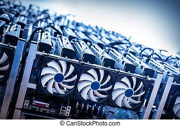 cryptocurrency, él, grande, minería, máquina, fans.