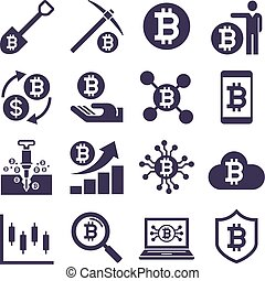 cryptocurrency, μετάλλευση , μικροβιοφορέας , icons., illustrations.