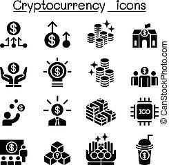 cryptocurrency, セット, アイコン