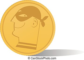 Cryptocurrency - A coin with a profile of a masked criminal ...