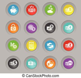 Cryptocurrency and mining colored plastic round buttons icon set