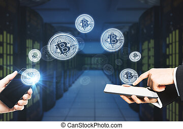 Cryptocurrency and online banking concept