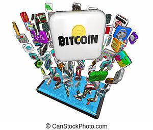 cryptocurrency, argent, app, bitcoin, illustration, téléphone portable, numérique, intelligent, 3d