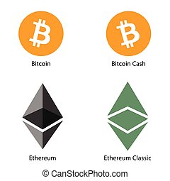 cryptocurrency, argent, ensemble, illustration