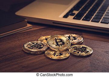 cryptocurrency, argent, numérique, bitcoins, blockchain.