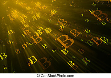 Cryptocurrency background - Abstract glowing bitcoin sign ...