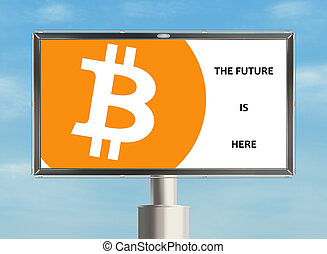 Cryptocurrency. - Billboard with cryptocurrency. Raster.
