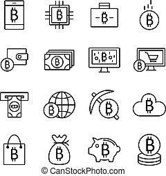 cryptocurrency, bitcoin, アイコン