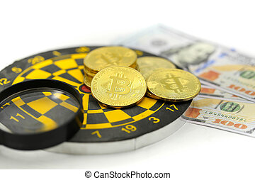 Cryptocurrency Bitcoin coins virtual money with dollars,will growth up in the future bitcoin investment
