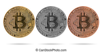 Golden, silver, copper bitcoin