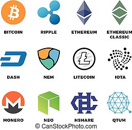 Cryptocurrency bitcoin, litecoin ethereum vector flat icons