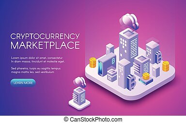 Cryptocurrency bitcoin marketplace vector illustration -...