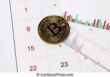 cryptocurrency., bitcoin, munt, op, een, beursmarkt, diagrammen, en, kalender