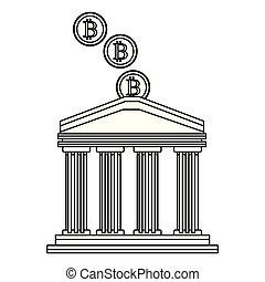 cryptocurrency, blanco, buiding, negro, banco