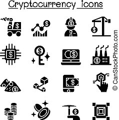 Cryptocurrency, Blockchain & ICO icon set
