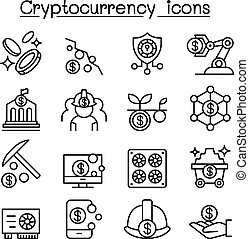 Cryptocurrency, Blockchain & ICO icon set in thin line style