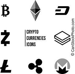 Cryptocurrency blockchain icons, Set of virtual currencies icons, bitcoin, ripple, litecoin, ethereum, trading and exchange concept,