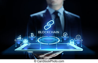cryptocurrency, blockchain, technologie, screen., concept, ...