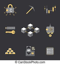 cryptocurrency blockchain technology concept - vector...