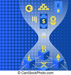 cryptocurrency blockchain technology concept - vector fiat...