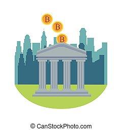 cryptocurrency, buiding, banco