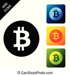 Cryptocurrency coin Bitcoin icon. Bitcoin for internet money. Physical bit coin. Digital currency. Blockchain based secure crypto currency. Set icons colorful square buttons. Vector Illustration