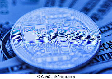 cryptocurrency coin close-up