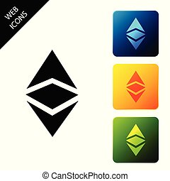 Cryptocurrency coin Ethereum classic ETC icon. Physical bit coin. Digital currency. Altcoin symbol. Blockchain based secure cryptocurrency. Set icons colorful square buttons. Vector Illustration