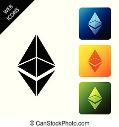 Cryptocurrency coin Ethereum ETH icon isolated. Physical bit coin. Digital currency. Altcoin symbol. Blockchain based secure crypto currency. Set icons colorful square buttons. Vector Illustration
