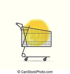 cryptocurrency coin gold in shopping basket illustration
