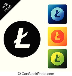 Cryptocurrency coin Litecoin LTC icon isolated. Physical bit coin. Digital currency. Altcoin symbol. Blockchain based secure crypto currency. Set icons colorful square buttons. Vector Illustration