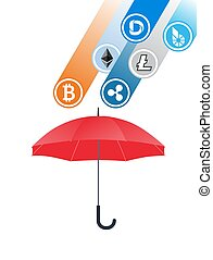Cryptocurrency coins falling to umbrella