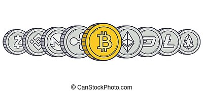 Cryptocurrency coins in row