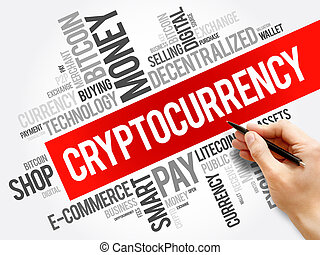 cryptocurrency, collage, mot, nuage