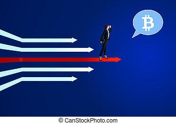 cryptocurrency, conceito visão, crescimento