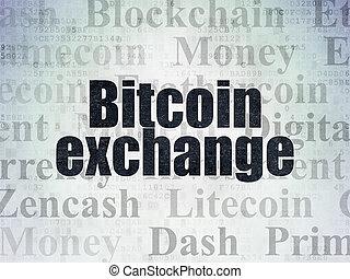 cryptocurrency, concept:, bitcoin, cserél, képben látható,...