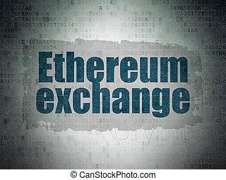 cryptocurrency, concept:, ethereum, cserél, képben látható,...