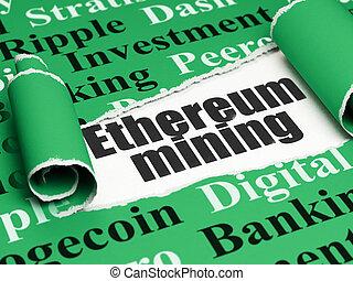 cryptocurrency, concept:, fekete, szöveg, ethereum,...