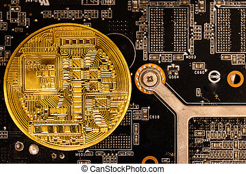 cryptocurrency concept - gold coin, computer circuit Board with bitcoin processor and microchips. Electronic currency, Internet Finance